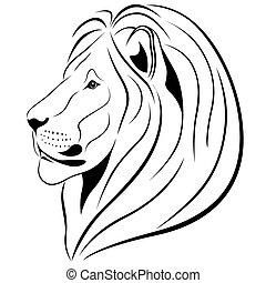 tatuaje, león, forma