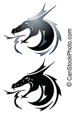 tatuaje, negro, dragón