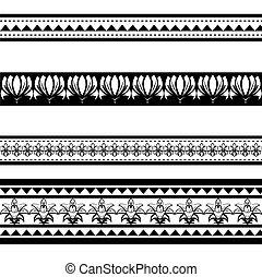 tatuaje, negro, polynesian, ilustración, brazalete