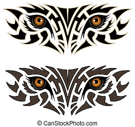 tatuaje, ojos, animal, tribal