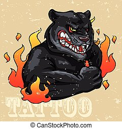 tatuaje, pantera, diseño, negro