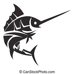 tatuaje, pez, marlin