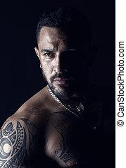 tatuaje, salón, look., face., sin afeitar, barbudo,...