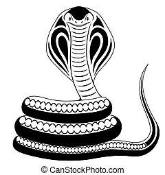 tatuaje, serpiente, cobra