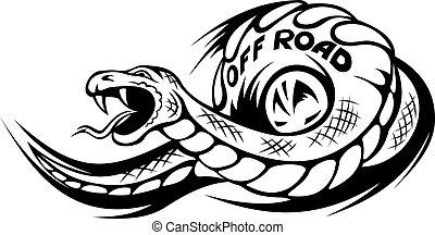 tatuaje, serpiente, offroad