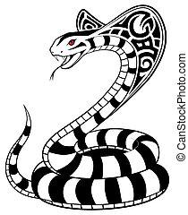 tatuaje, serpiente, vector, tribal