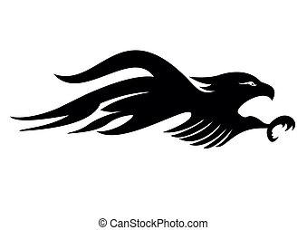 tatuaje, tribal, águila, vector, arte