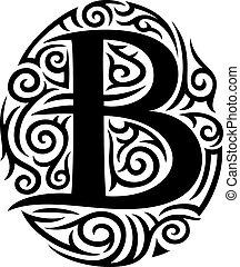 tatuaje, tribal, b, diseño, carta