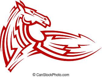 tatuaje, tribal, caballo, mustang, rojo