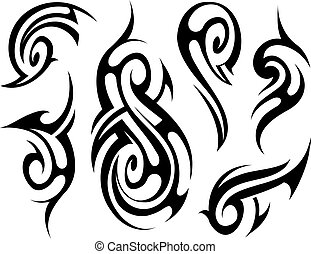 tatuaje, tribal, conjunto