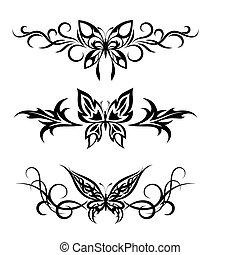 tatuaje, tribal, mariposas, conjunto