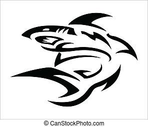 tatuaje, tribal, -, tiburón, diseño