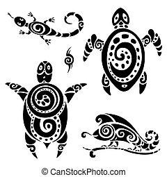 tatuaje, tribal, turtle., set.