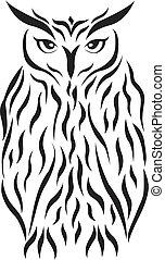 tatuaje, tribal, vector, eagle-owl