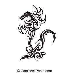 tatuaje, vector, arte, dragón
