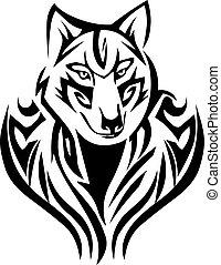 tatuaje, zorro, diseño, vendimia, Grabado