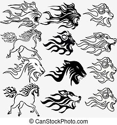 tatuajes, gráfico, pantera, firehorse, león, conjunto, lobo