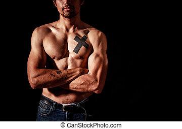 tatuajes, joven, muscular, hombre