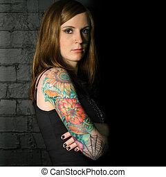 tatuera, flicka, 3