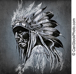 tatuera, huvud, över, mörk, amerikansk indian, bakgrund,...