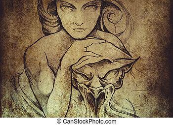 tatuera, konst, skiss, av, mistic, kvinna