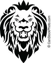 tatuera, lejon, huvud