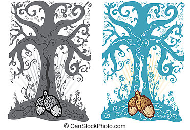 tatuera, liv, träd, stil, illustration, vektor, ekollon