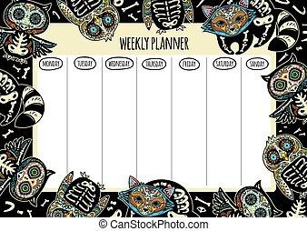 tatuera, planläggare, illustration, vektor, varje vecka, design.