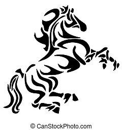 tatuera, stam, häst