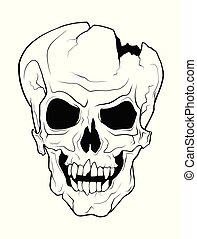 tatuera, stil, kranium, isolerat, illustration, grina, ...
