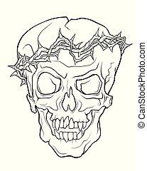 tatuera, stil, linjär, kranium, krans, vampyr, illustration...