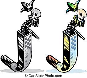 tatuera, stil, relevant, brev, j, symboler, incorporated