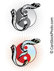 tatuera, stil, relevant, incorporated, symboler, brev y