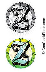 tatuera, stil, relevant, incorporated, symboler, brev, z