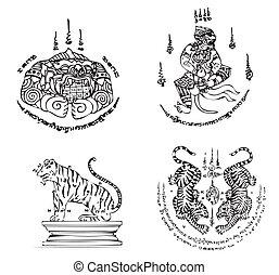 tatuera, thai, vektor, forntida