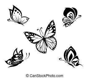 tatuera, vit, svart, fjärilar