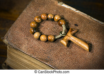 Tau - Wooden Cross and Rosary Bead