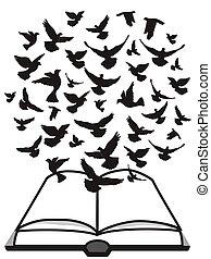 tauben, fliegendes, oben, bibel