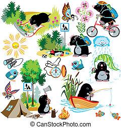 taupe, dessin animé, ensemble, camping