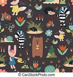 taupe, escargot, animaux, carte, livre, salle, ours, pattern., seamless, hibou, main, cerf, enfants, crèche, conception, décoration, mouse., dessiné, apparel., lapin, salutation