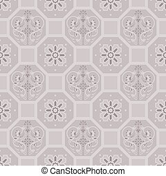 Taupe floor tiles ornament vector pattern print. Brown colors geometric hexagonal seamless backdrop.