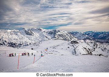 Tauplitz Alm close to Bad Mitterndorf in Styria, Austria, in winter
