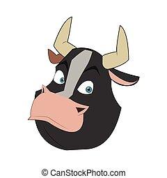 taureau, dessin animé, icône