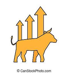 taureau, diagramme croissance, marché, stockage