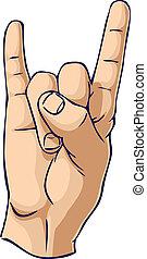 taureau, geste main, corne