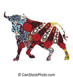 taureau, ornement, espagnol