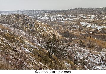 taurian, neva-coberto, steppe, em, inverno