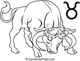 taurus, 黄道帯, 星占い, 占星術の 印