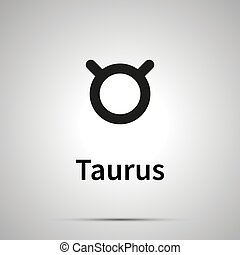 Taurus astronomical sign, simple black icon with shadow