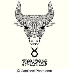 Taurus - Zendoodle design of Taurus zodiac sign for design...